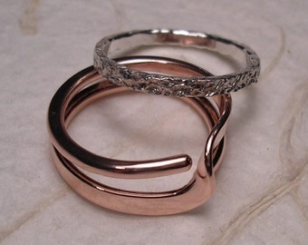 Copper Ring and Sterling Ring - Mock Pavé™ Textured Sterling Band Within A Copper Wave Energy Ring™