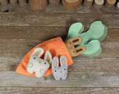 hand-stitched wool felt garden pals: carrot and bunnies by kata golda