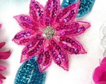 "JB25 Fuchsia Turquoise Floral Rhinestone Beaded Sequin Applique 6.5"" (JB25-fstr)"