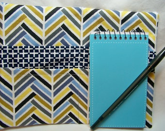 PK Note Tote in Broken Herringbone in Blue - Purse Accessory - Fabric Notebook - Ready To Ship