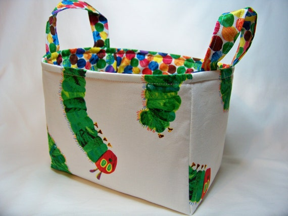 PK Fabric Basket in Very Hungry Caterpillar - Storage Basket - Diaper Caddy - Ready To Ship - Reversible