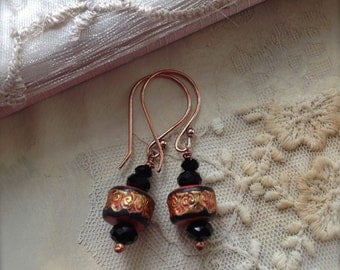 Poppy Red Black and Gold Earrings with Copper Earwires Boho Style Jewelry
