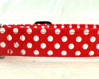 Red Polka Dot Bikini White Polka Dots on Red Dog Collar