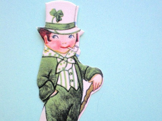Antique 1920s LEPRECHAUN PLACE CARD - St. Patrick's Day