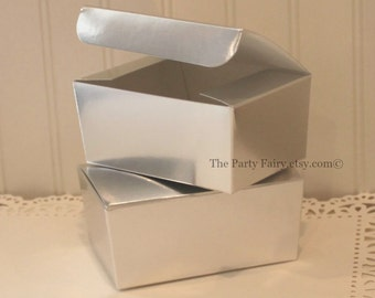 Silver Favor Box, 6 Silver Foil Boxes, 1/2 Lb. Silver Foil Treat Box, DIY Wedding Favors, Grey Favor Box, Candy Box, Silver Boxes, Gray Box