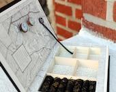 "Handmade Vintage Book Jewelry Box. Unique, Recycled. ""Thunderstruck."" Wooden Typewriter Keys."