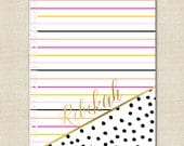 Personalized Spiral Notebook - Stripes and Dalmation Pattern - Monogrammed with Gold Effect - By A Blissful Nest