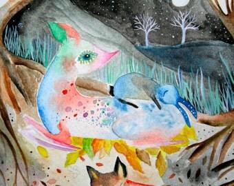 Safe in the Earth Fine Art Print Illustration