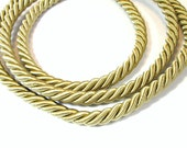 Twisted silk cord, 9mm, golden beige satin rope, 1 meter
