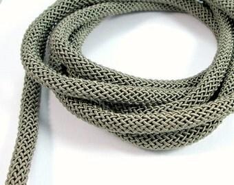 "Braided ""Larousse"" silk cord, 9mm gray khaki cord, 1m"