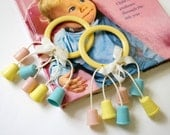 Vintage 1950s Baby Rattle NOS / Pastel Pink Yellow Aqua, Thimbles / New Baby Gift, Nursery Decor, Gift Wrap Accessory