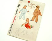 Child Size 1 Jacket, Hat and Overalls with Monkey Transfer 50s Simplicity Pattern 2562 / Factory Folds
