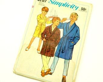 Vintage 1960s  Boys Size 6 Robe Simplicity Sewing Pattern 6767 / Factory Folds