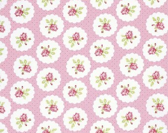 Lulu Roses Fabric From Tanya Whelan 94 Lotti Rose Roses Floral Flowers in Circles with Polka Dots on Light Pink