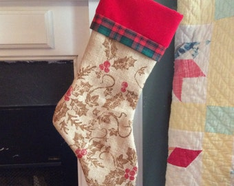 Printed Burlap Christmas Stocking - Personalized Free