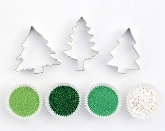 Pine Tree Cookie Decorating Kit - Cookie Cutters and Sprinkles - Christmas, Woodland, Cookie Decorating Party