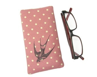 Glasses Case, Spectacle Holder, Sunglasses Pouch, Swallow, Pink Glasses Pouch