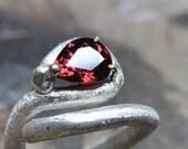 Dark Red Zircon Abstract Om Symbol Silver Ring 10K Yellow Gold Prongs Rustic Texture Unique Crimson Pear Drop Gemstone Design - Tamil Om