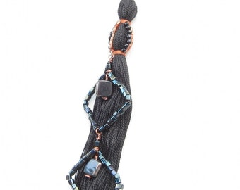 Home Decor Wall Art: Black Tassel with Black Beaded Squares with Copper Accents