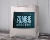 Zombie Apocalypse Survival Gear - Tote Bag - Natural Canvas Bag - Blue Image Transfer- Carryall Tote - School Bag
