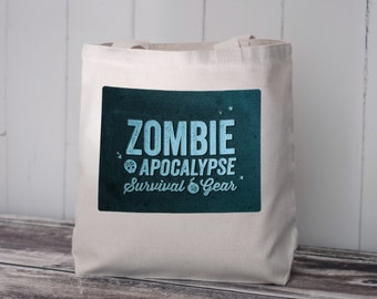 Zombie Apocalypse Survival Gear - Tote Bag - Natural Canvas Bag - Blue Image Transfer- Carryall Tote - School Bag