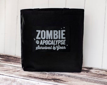 Zombie Apocalypse Survival Gear - Canvas Bag - Black Canvas Bag - Carryall Tote - School Bag