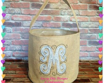 Personalized Easter Basket/Monogramed Easter Basket/Burlap Bucket/Boutique Style Easter Basket/Blinged Easter Basket