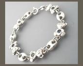 Sterling Silver Child's Bracelet, Teddy Bear Bracelet, Silver Bracelet, Sterling Silver Bracelet