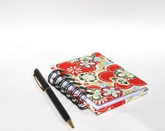 Mini Notebook Notepad - Spiral Book - Flower Power