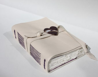 Leather Journal or Leather Sketchbook - Handmade - Heart