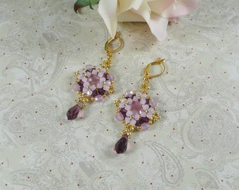Woven Earrings Pink Opal and Amethyst Crystal