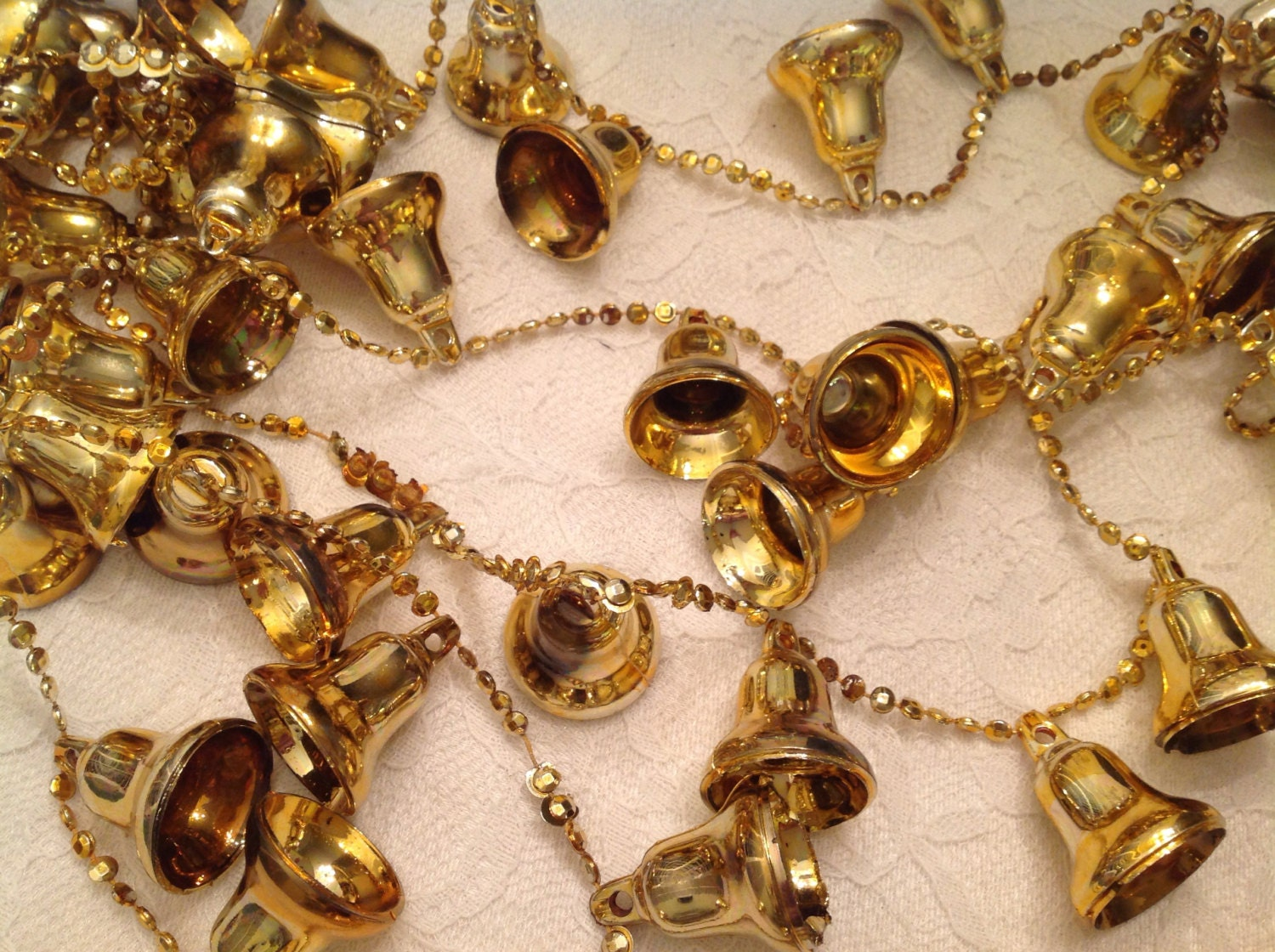 Vintage gold christmas garland bells tree decoration old