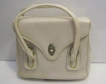 Shiny Cream Faux Patent Leather Purse with Gold toned Accents