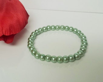 Light Teal Green Glass Pearl Bracelet for Bridesmaid, Flower Girl or Prom