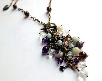 Gemstone fringe cluster necklace, amethyst, aquamarine, quartz, amazonite, antiqued brass chain, unique
