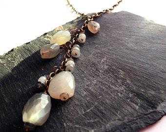 Boho chic tassel necklace, gemstone tassel, genuine moonstone, antique brass chain, statement necklace, unique ooak birthstone jewellery