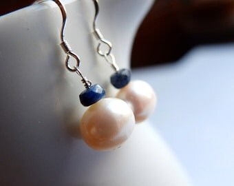 pearl sapphire earrings, large freshwater ivory pearls, natural blue sapphires, sterling silver pearl drop earrings