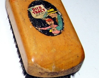 Dick Tracy and Junior Hat or Clothes Brush,  A Miller Brothers Hat Company promotional, Wood top, Comics, Comic Art, animation Art,