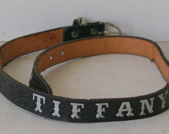 Vintage Black Handtooled Snakeskin Belt for Tiffany