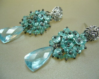 Blue Topaz Apatite Oxidized Sterling Silver Wire Wrapped Cluster Earrings