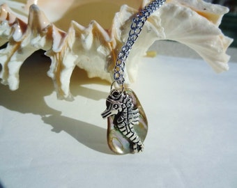 Custom Choose Your own Length Mother of Pearl Shell and Seahorse Necklace by jessentials