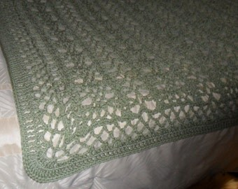 Crocheted Afghan - Blanket - Throw - Bedspread- Coverlet - XLarge   ''BOUDOIR''  in Frosty Green