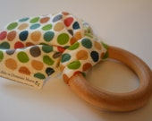 Organic Wood & Fabric Polka Dotted Teether