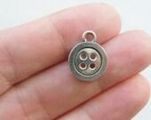 BULK 50 Button charms antique silver tone SN35