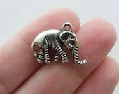 BULK 30 Elephant charms antique silver tone E15