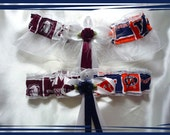 LVBARNS House Divided White Wedding Garter Set Made with Mississippi State & Memphis Fabric