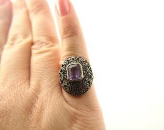 Amethyst Marcasite Ring - 1920s Wedding - Sterling Silver - Vintage