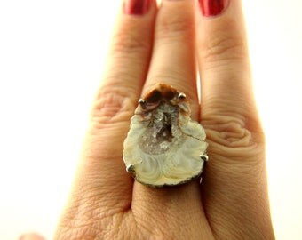 Geode Slice Ring - Sterling Silver - Vintage