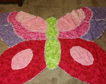 Butterfly Rag Quilt Baby Blanket