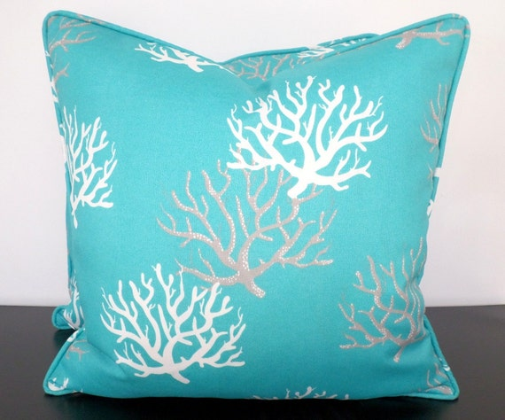 Turquoise Outdoor Pillow Cover 18x18 Coral Pillow Cover